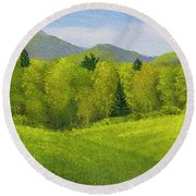 Round Beach Towel featuring the painting Rolling Spring Pastures  by Frank Wilson