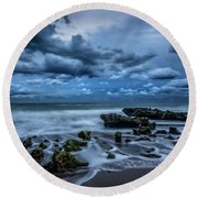 Round Beach Towel featuring the photograph Rolling Thunder by Debra and Dave Vanderlaan
