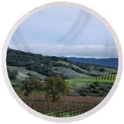Rolling Vineyards Round Beach Towel
