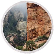 Round Beach Towel featuring the photograph Rollings Mists by Phyllis Denton