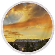 Round Beach Towel featuring the photograph  Rollinsville Colorado Trains And Sunset by James BO Insogna