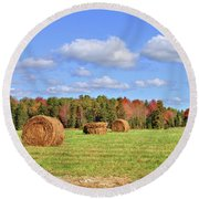 Rolls Of Hay On A Beautiful Day Round Beach Towel