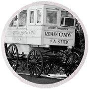 Roman Candy - Bw Round Beach Towel