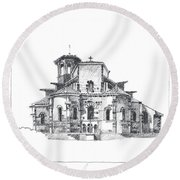 Roman Church At Chamalieres Round Beach Towel