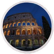 Roman Coliseum In The Evening  Round Beach Towel