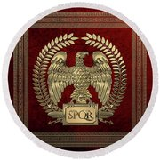 Roman Empire - Gold Imperial Eagle Over Red Velvet Round Beach Towel