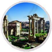 Roman Forum Round Beach Towel by Alessandro Della Pietra