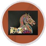 Roman Horse Round Beach Towel