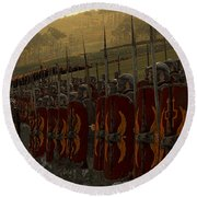 Roman Legion In Battle - Ancient Warfare Round Beach Towel
