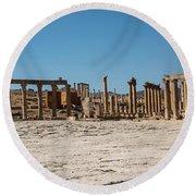 Round Beach Towel featuring the photograph Roman Ruins At Ajloun by Mae Wertz