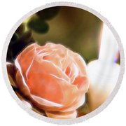 Romance In A Peach Rose Round Beach Towel by Linda Phelps