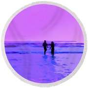 Romance On The Beach Round Beach Towel