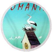Romania, Stork On Village Watch Tower Round Beach Towel