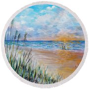 Romantic Beach Round Beach Towel by Lou Ann Bagnall