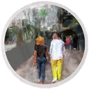 Romantic Couple Round Beach Towel