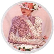 Romantic Lady Round Beach Towel