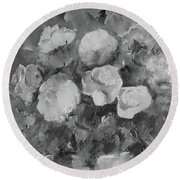 Round Beach Towel featuring the painting Romantic Large Roses  by Robin Maria Pedrero