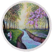 Romantic Moment Round Beach Towel