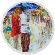 Romantic Paris Round Beach Towel