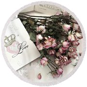 Round Beach Towel featuring the photograph Romantic Pink Roses With Love Book - Shabby Chic Romantic Roses Love Books Decor Still Life  by Kathy Fornal