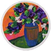 Romantic Purple Flowers In Blue Vase Round Beach Towel