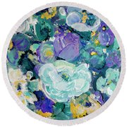 Romantic Rose Garden Round Beach Towel