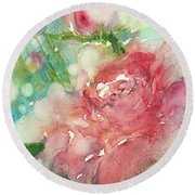 romantic Rose Round Beach Towel by Judith Levins