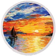 Round Beach Towel featuring the painting Romantic Sea Sunset by Georgeta  Blanaru