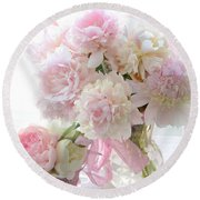 Romantic Shabby Chic Pink White Peonies - Shabby Chic Peonies Pastel Decor Round Beach Towel