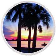 Round Beach Towel featuring the photograph Romantic Skies Beach Sunset by Aimee L Maher Photography and Art Visit ALMGallerydotcom