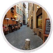 Romantic Streetside Cafe Round Beach Towel
