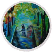 Round Beach Towel featuring the painting Romantic Stroll by Leslie Allen