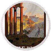 Rome, Ancient Ruins, Railway Round Beach Towel