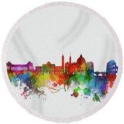 Rome City Skyline Watercolor 2 Round Beach Towel
