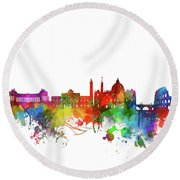 Rome City Skyline Watercolor Round Beach Towel