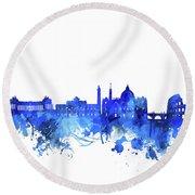 Rome City Skyline Watercolor Blue Round Beach Towel