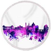 Rome City Skyline Watercolor Purple Round Beach Towel