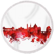 Rome City Skyline Wateroclor Red Round Beach Towel