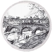 Bridge At Isola Tiberina Rome Sketch Round Beach Towel