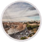 Round Beach Towel featuring the photograph Rome - Panorama  by Sergey Simanovsky