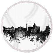 Rome Skyline Black And White Round Beach Towel