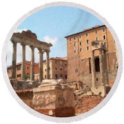 Rome The Eternal City And Temples Round Beach Towel