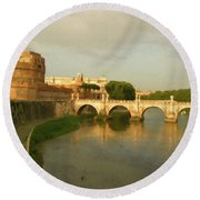Rome The Eternal City And Tiber River Round Beach Towel