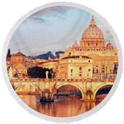 Rome The Eternal City - Saint Peter From The Tiber Round Beach Towel