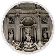 Rome - The Trevi Fountain At Night 3 Round Beach Towel