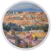 Rome View From Gianicolo Round Beach Towel