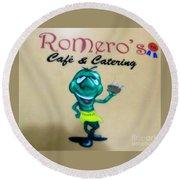 Romero's Chile Man Round Beach Towel