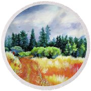 Round Beach Towel featuring the painting Romp On The Hill by Kathy Braud
