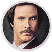 Ron Burgundy Round Beach Towel
