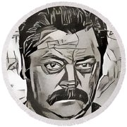 Round Beach Towel featuring the painting Ron Swanson by Paul Van Scott